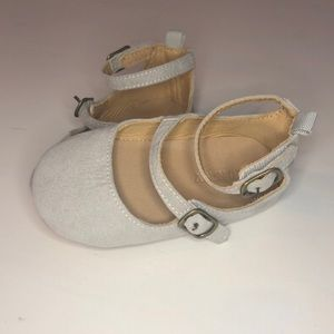Grey strappy toddler shoes